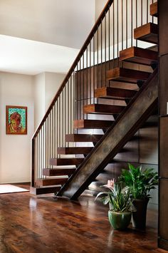 Terrific Residential Metal Stairs Ideas in Staircase Contemporary design ideas with custom floating stairs floating treads mesquite stairs Wood Railings For Stairs, Modern Stair Railing, Stair Railing Design, Stair Handrail, Modern Staircase, Staircase Contemporary, Steel Stairs Design, Rebar Railing, Hand Railing