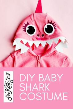 Pink DIY baby shark costume with a hoodie - see kate sew Shark Halloween Costume, Shark Costumes, Baby Costumes, Iron On Vinyl, Foam Crafts, Baby Shark, Vinyl Lettering, Diy Baby, Costume Ideas
