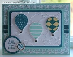 Stamps: Up, Up & Away; Collage Curios Dies, Embossing Folders & Punches: Circles #2 Originals Die; 1/2″ Circle Punch; 1-1/4″ Circle Punch; 3/16″ Corner Punch; Cloudy Day Embossing Folder Embellishments: Soda Pop Tops; Sycamore Street Ribbon & Button Pack Ink: Island Indigo; Pool Party; So Saffron; Early Espresso Tools:  Paper Snips; Big Shot Die-Cutting Machine; Stamp-a-ma-jig Card Stock: Pool Party; Island Indigo; Whisper White; Sycamore Street DSP