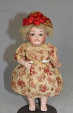 "6.5"" Kestner 178 all-bisque character toddler, all original with skin wig. http://farawayantiqueshop2.com/6-5-kestner-178-barefoot-all-bisque-all-original/"