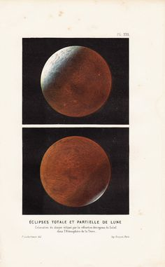 1866 Antique MOON ECLIPSE  print total and by TwoCatsAntiquePrints, $45.00