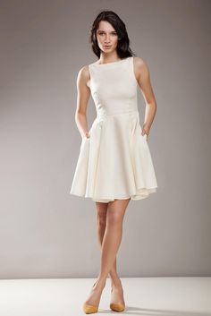 Bateau Neck Sleeveless Skater Beige Dress #Dresses https://queens-market-clothes.myshopify.com/