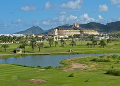 Saint Kitts - Time Shares - Photo of the Royal St Kitts Golf Course with the St Kitts Marriott Resort in the background.