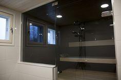 Nanna Banana's home - scandinavian style bathroom and sauna made out of aspen