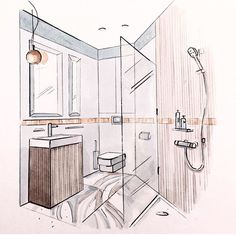bathroom interior design sketches. Interior Sketch, Perspective Drawing, Croquis, To Draw, Perspective, Architecture, Interiors, Planks, Typography Bathroom Design Sketches S