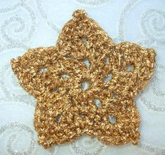 Set of 5 Crocheted metallic gold star by JacqstarCreations on Etsy