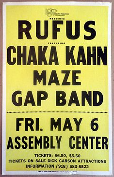 1977 Rufus with Chaka Kahn, the Gap Band and Maze Tulsa Concert Poster