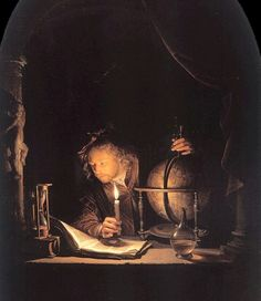 """Astronomer by Candlelight"" (1650) → Gerrit Dou -1613/1675 - Dutch painter."