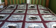 Quilt Wolf Grizzly Bear Call  Wild Hunter Log Cabin Burgandy Gray 114 x 108 King