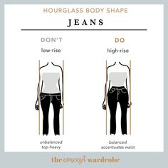 Hourglass Body Shape Jeans Do's and Don'ts - the concept wardrobe Hourglass Figure Outfits, Hourglass Dress, Hourglass Fashion, Body Shape Guide, Mode Outfits, Fashion Outfits, Image Coach, Hourglass Body Shape, Build A Wardrobe