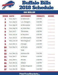 Printable 2018 Buffalo Bills Football Schedule