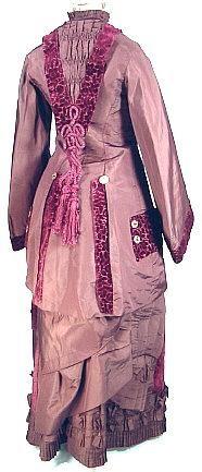 Antique Dress - Item for Sale c. 1880 Museum Quality 3-Piece Dark Plum Taffeta and Embossed Deep Garnet Velvet Bustle Gown