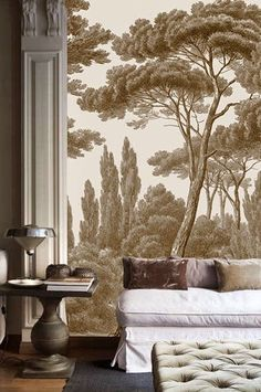 Looking for grisaille inspiration for your monochromatic interior. The best collection of mages of grisaille, brunaille and verdaille paintings and murals. Decor, Interior, Wall Treatments, Room Wallpaper, Mural Wallpaper, Wallpaper Living Room, Home Decor, House Interior, Interior Design