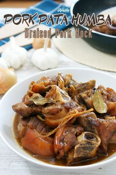 Pork Pata Humba slowly cooked until tender and flavorful. Braised pork hock with a sweet and savory sauce that goes perfectly well with steamed rice! Humba Recipe Pork, Pata Recipe, Pork Recipes, Crockpot Recipes, Filipino Recipes, Pork Hocks Recipe Filipino, Filipino Food, Braised Pork, Pork Roast
