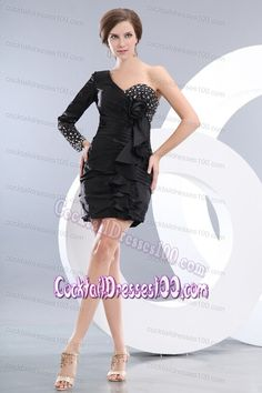 8a71d5e3b6 Buy fashionable black one shoulder long sleeve mini length taffeta prom  party dress from black prom dresses collection