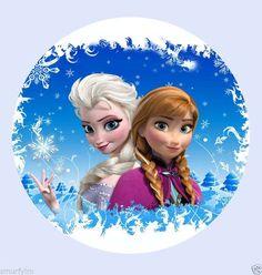 """Frozen Disney Elsa Anna Princesa Cake Topper Comestible Papel De Arroz Cumpleaños 7.5 """"Nc"""