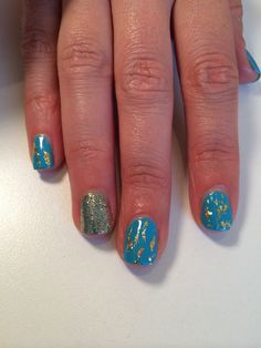 Shellac nails by Cheryl with foil and glitter accent