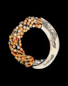 agate & boars tusk necklace by Eileen Coyne
