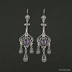 UNIQUE AMETHYST CZ FILIGREE STYLE 925 STERLING SILVER GREEK HANDMADE EARRINGS #IreneGreekJewelry #DropDangle