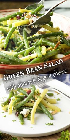 This fresh green bean almond salad with goat cheese and dried cranberries is tossed with a simple vinaigrette. Its the perfect salad for any night. Great for summer parties weeknight dinners holidays like Thanksgiving and Christmas. Bacon Recipes, Salad Recipes, Vegetarian Recipes, Cooking Recipes, Green Beans With Almonds, Green Beans With Bacon, Brocolli Salad, The Fresh, Fresh Green