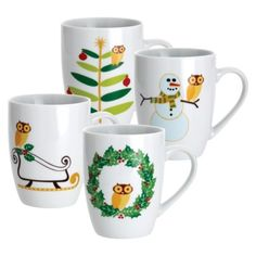 Rachael Ray Holiday Hoot Assorted Mugs Set of 4