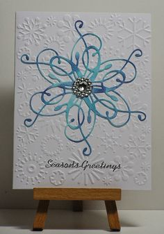 Cathys Card Spot: Blue swirl and snowflakes