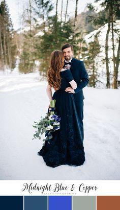 Stunning Winter Wedding Color Palette - Midnight Blue & Copper