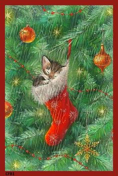 Vintage Christmas Tree Stocking Kitten Cotton by fabricblockprints
