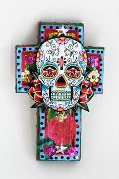 Mexican Sugar Skull on wooden cross / ROYGBIV by TheVirginRose, $32.00