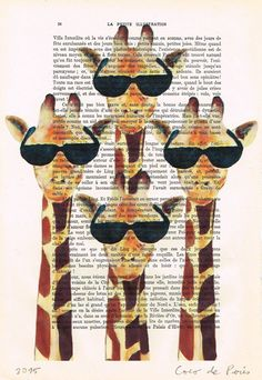 Giraffes with sunglasses pop Funny poster by Cocodeparis on Etsy