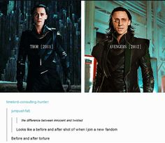 This is an interesting comparison between the Thor Loki and Avengers Loki. (gif)