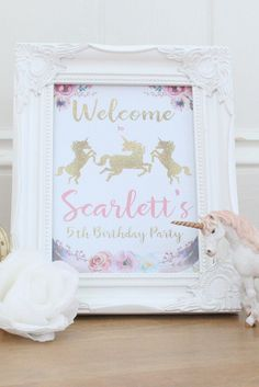 This Unicorn Party Welcome Sign is part of the Unicorn Party Kit at abbeygatedesigns