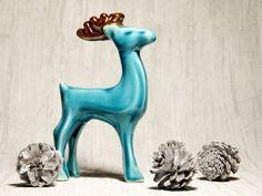 Renifer ceramiczny / ceramic deer  Turkusowo-złoty w Pracownia NieZapominajka na DaWanda.com