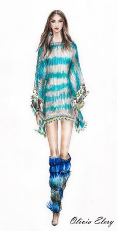 Etro 2015 RTW-Fashion Illustration by OLIVIA ELERY at Coroflot.com