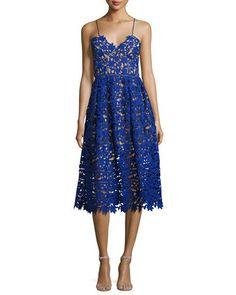 Azaelea Guipure-Lace Illusion Cocktail Dress, Cobalt  Perfect length