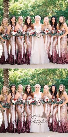 Mermaid Round Neck Long Ombre Sequined Bridesmaid Dresses, TYP1560 #bridesmaid #bridesmaiddresses #longbridesmaiddresses #wedding #2019bridesmaiddresses #simplebridesmaiddresses