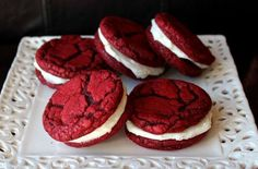 Red Velvet Sandwich Cookies with Cream Cheese Frosting Ingredients Cookies: 1 (15.25 ounce) package red velvet cake mix 2 eggs ¾ cup vegetable shortening Frosting: 1 (8 ounce) block cream cheese, softened to room temperature ½ cup (1 stick) butter, softened to room temperature 2½ cups powdered sugar Instructions Preheat …