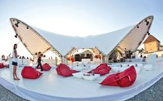 Marlboro tour by Amirko , via Behance Truss Structure, Membrane Structure, Fabric Structure, Shade Structure, Tent Design, Roof Design, Stage Design, Factory Architecture, Roof Architecture
