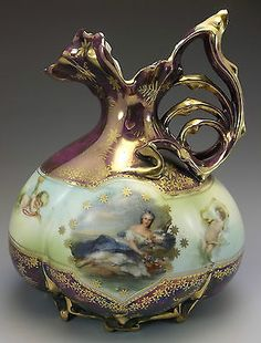 Antique Royal Vienna RS Prussia Pitcher Vase Purple Portrait Gilded Porcelain | eBay