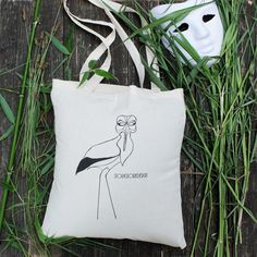 Stork with mask Stork, Reusable Tote Bags, Trending Outfits, Unique Jewelry, Handmade Gifts, Etsy, Vintage, Handcrafted Gifts, Hand Made Gifts
