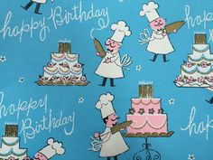 Vintage Gift Wrapping Paper  Blue Happy by TheGOOSEandTheHOUND