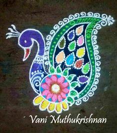 Easy Rangoli Designs Diwali, Rangoli Ideas, Colorful Rangoli Designs, Beautiful Rangoli Designs, Kolam Designs, Simple Rangoli, Free Hand Rangoli, Diwali Craft, Bird Art