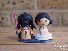 Darth Vader in pink and bride wedding cake topper by Genefy Playground https://www.facebook.com/genefyplayground