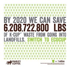 check out the real situation: save 6,208,722,800 LBS in waste...choose #EcoCup #MarleyCoffee ♻️