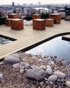 Andy Sturgeon's roof terrace in the Docklands.  The white rocks encircled by the wooden blocks are actually a firepit