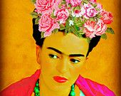 """SALE 14""""x18"""" Frida Kahlo Roses Print Original Mixed Media Photomontage Modern Home Decor Mexican Rose Pink Gold Green Black White Gold"""
