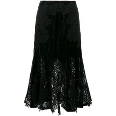 Jonathan Simkhai Velvet and Lace Embroidered Skirt ($740) ❤ liked on Polyvore featuring skirts, black, velvet skirt, lacy skirt, jonathan simkhai, lace skirt and embroidered skirt