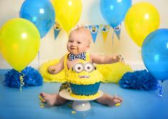 Meet William!I was so so happy when his mum gave me a minion theme to do and we certainly got some cute photos!!Minion Cake Smash by Courtney Anderson with Cotton Cloud Photography located in Campbelltown in Sydney's Macarthur region