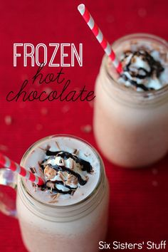 Frozen Hot Chocolate Recipe, 1 c hot cocoa mix, 3 T sugar, 3C milk, 6C ice... Blend & serve.