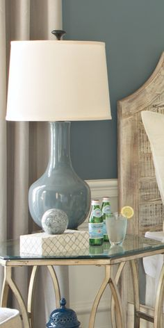The Umberto lamp is sophisticated in its slate blue coloring and classic shape. Shop online now. #LivingSpaces